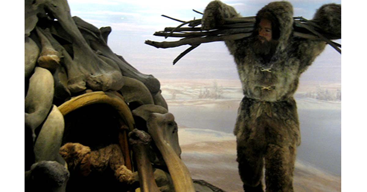 Cro Magnon diorama showing a mammoth bone shelter.