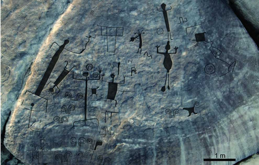 Large petroglyphs found in Western Venezuela. Oblique aerial view of western panel on Picure, with interpretative overlay of main engravings.