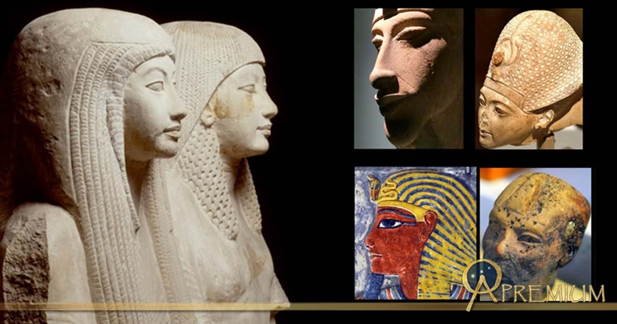 Collection of Egyptian Art, design by Anand Balaji (Photo credits: Rijksmuseum van Oudheden/CC BY-SA 4.0, Leiden; Dr Chris Naunton, Heidi Kontkanen and A. K. Moyls); Deriv.