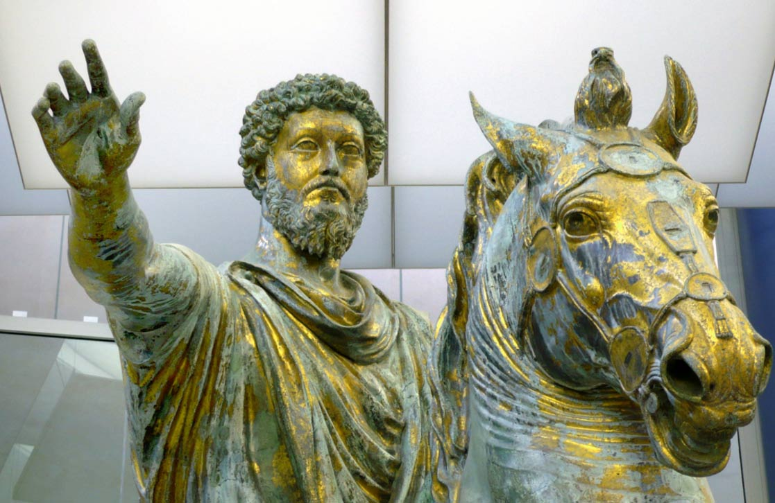The Statue of Marcus Aurelius (detail) in the Musei Capitolini in Rome.