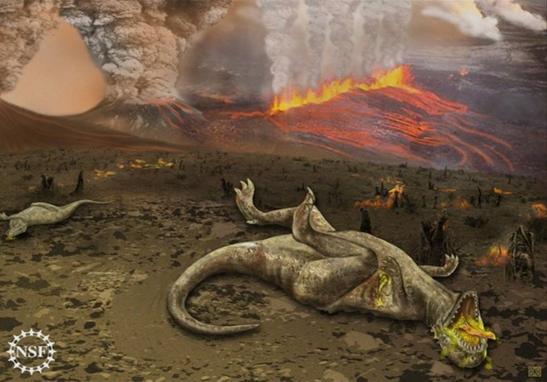 Dinosaurs in a global mass extinction