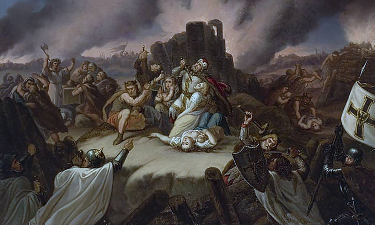 Duke Margiris defending Pilėnai against Teutonic Knights 1336.