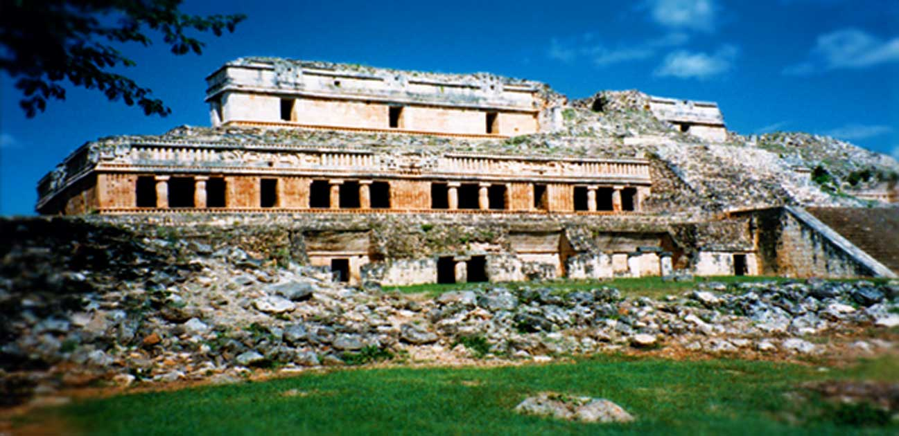 The Palace at Sayil, a Maya city on the Gulf of Mexico side of the Yucatan Peninsula. Heavily damaged by ancient floods, complete reconstruction is impossible because of scattered stoneworks.