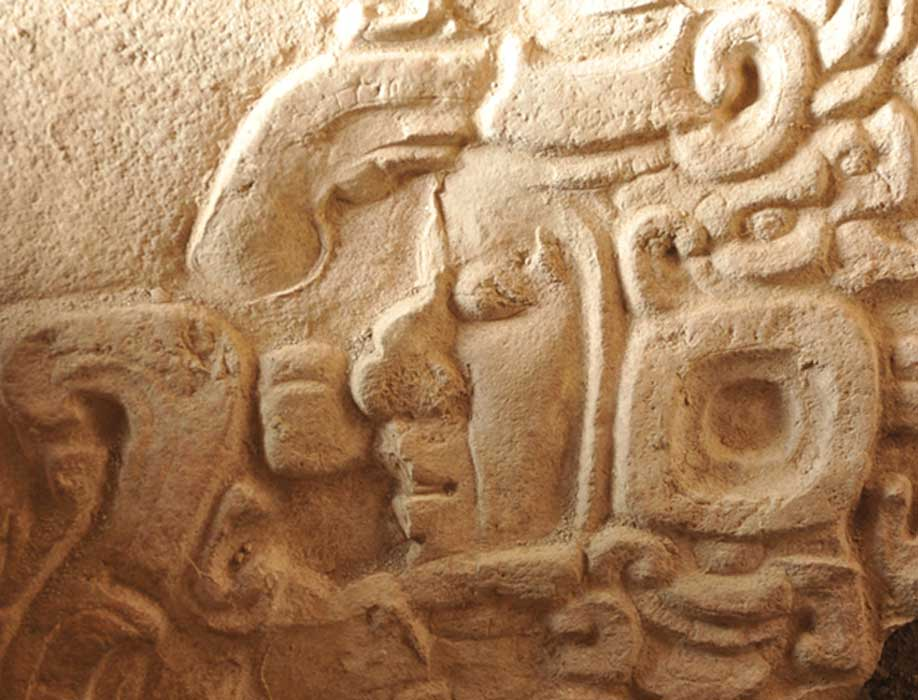Detail of Stela 1, Fragment 1, front. La Corona, Guatemala.