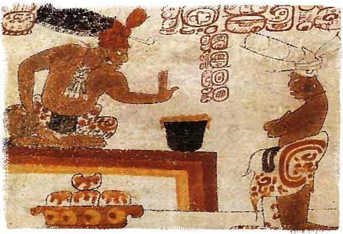 An old Mayan depiction of a lord protecting chocolate