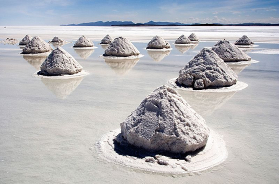 Modern salt production. Piles of Salt, Salar de Uyuni, Bolivia