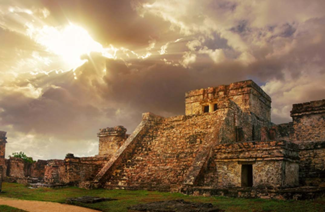 Castillo fortress at sunrise. Do trophy skulls help explain the collapse of the once great empire? Maya Source: soft_light / Adobe Stock