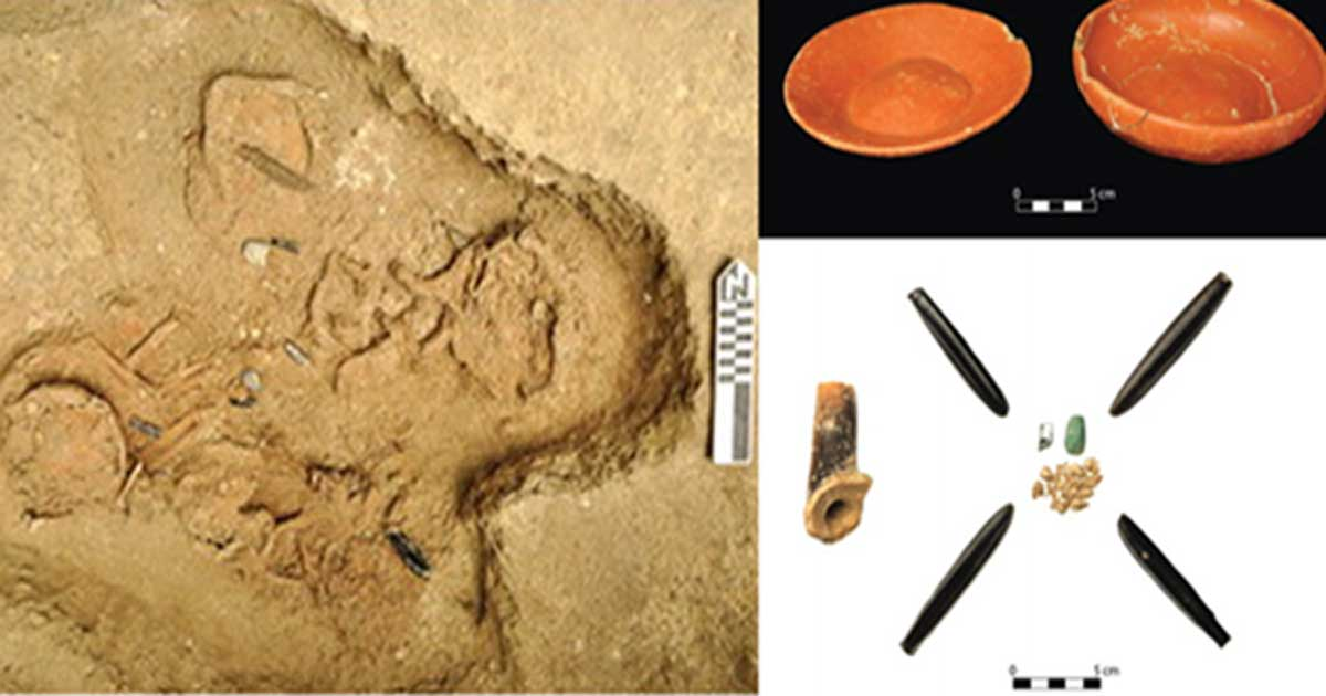 Five of the sacrificed children were found in a multiple burial. (Flory Pinzón) Grave goods, including obsidian, were found in a burial of two more sacrificed children.