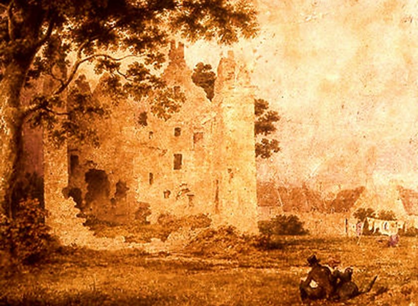 Partick Castle, a watercolor painting by John A. Gilfillan (1793-1864).