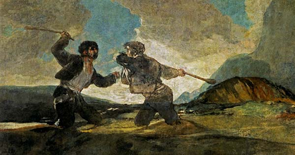Fight with Cudgels, 1819-1823 by Francisco de Goya