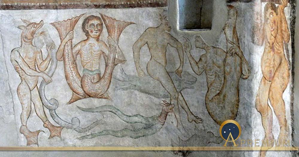 Tramin (South Tyrol. )Saint James church in Kastelaz: Romanesque frescos (1210s ) showing fantastic creatures. (Public Domain)