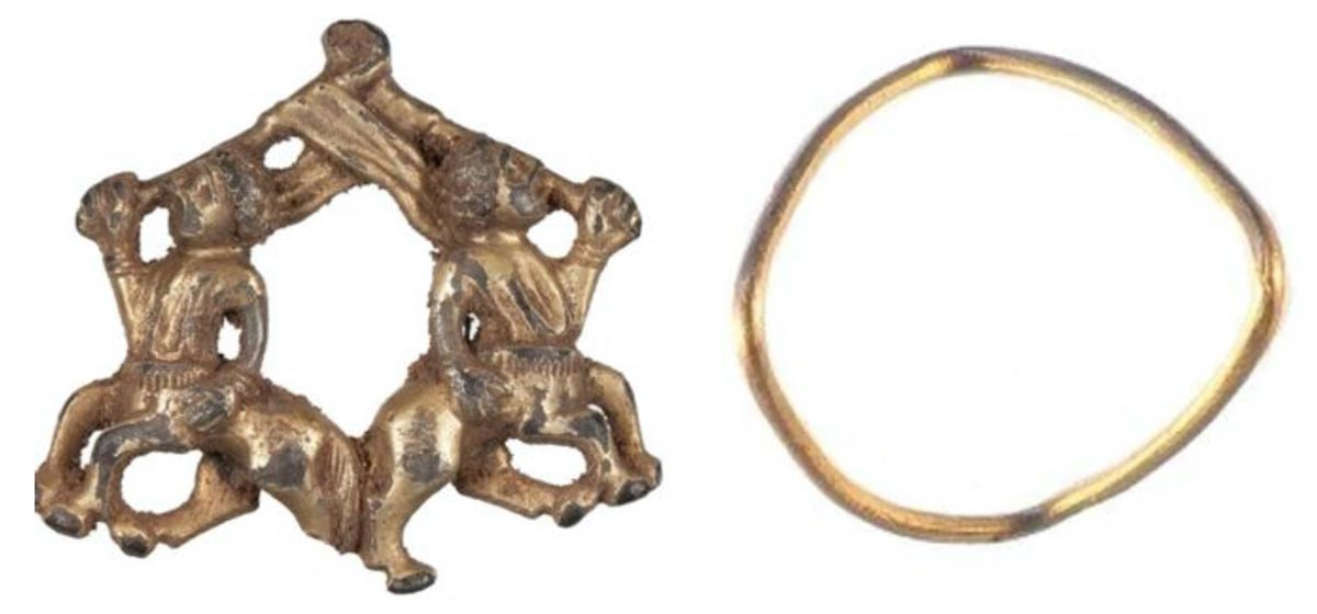 The Iron Age and medieval jewelry unearthed in Shropshire, England. Left: the medieval brooch with centaurs. Right: The gold Iron Age ring.            Source: British Museum's Portable Antiquities Scheme