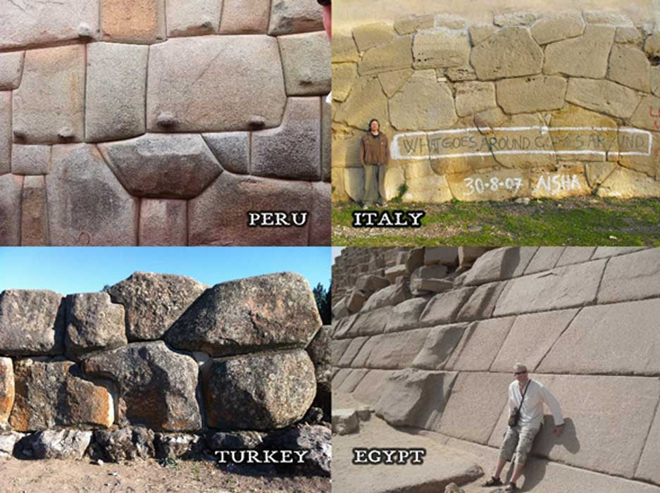 Top left: Cuzco, Peru. Top right: Western Italy. Bottom left: Alaca Hoyuk, Turkey. Bottom right: Casing stones on pyramid on Giza plateau.