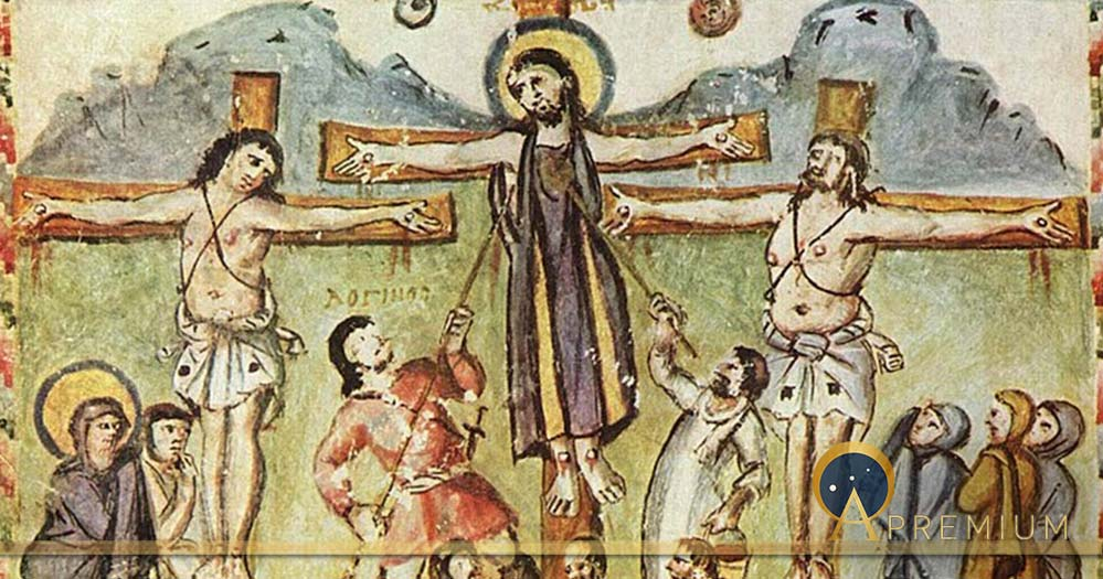 "Crucifixion miniature, Rabula Gospels, with the legend ""Loginos"". Meister des Rabula-Evangeliums - The Yorck Project (2002) (Public Domain)"