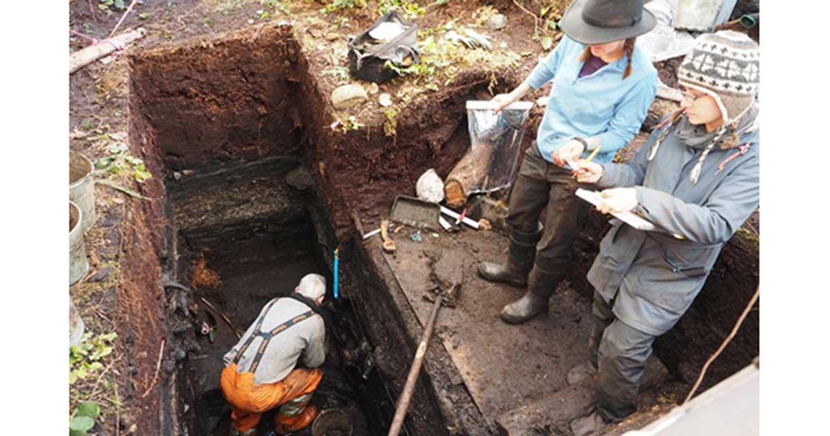 Members of the archeology team, from left to right, John Maxwell, Alisha Gauvreau, and Seonaid Duffield work on excavating the site.