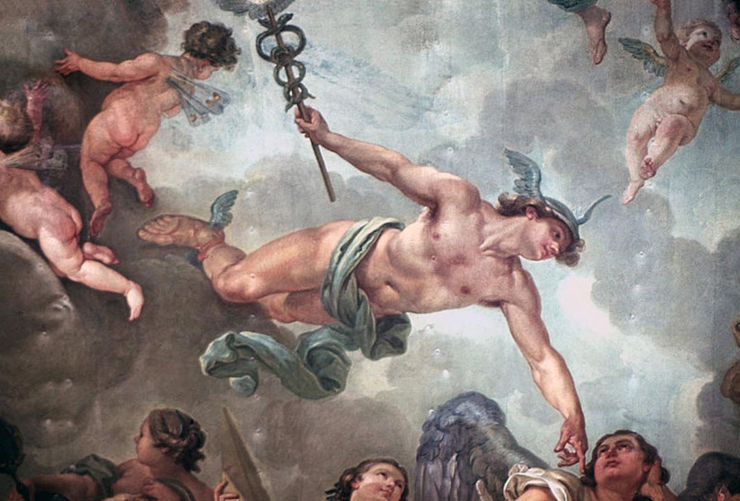 'The Elevation of the Great Elector into Olympus'. Ceiling painting (detail: Mercury), City Palace, Potsdam