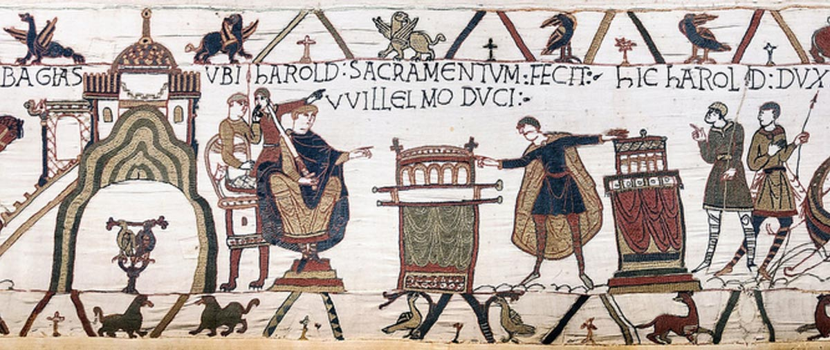 The Bayeux tapestry: Harold swears his oath to William.
