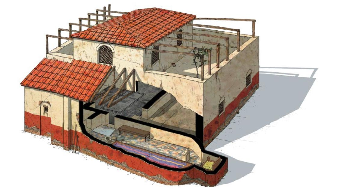 "Reconstruction of the ""Mithraeum of Colored Marbles."" The 'spelaeum', the most important room in the Mithraeum, is shown on the bottom level.            Source: G Albertini / Live Science"