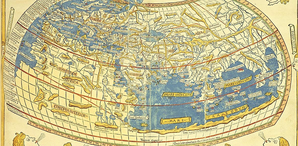 Many think of modern globalization as a corporate phenomenon, linking it to the spread of coronavirus. But in fact, archaeology evidences it began in antiquity up to 5,000 years ago. Pictured: Ptolemy's Global map. Source: British Library