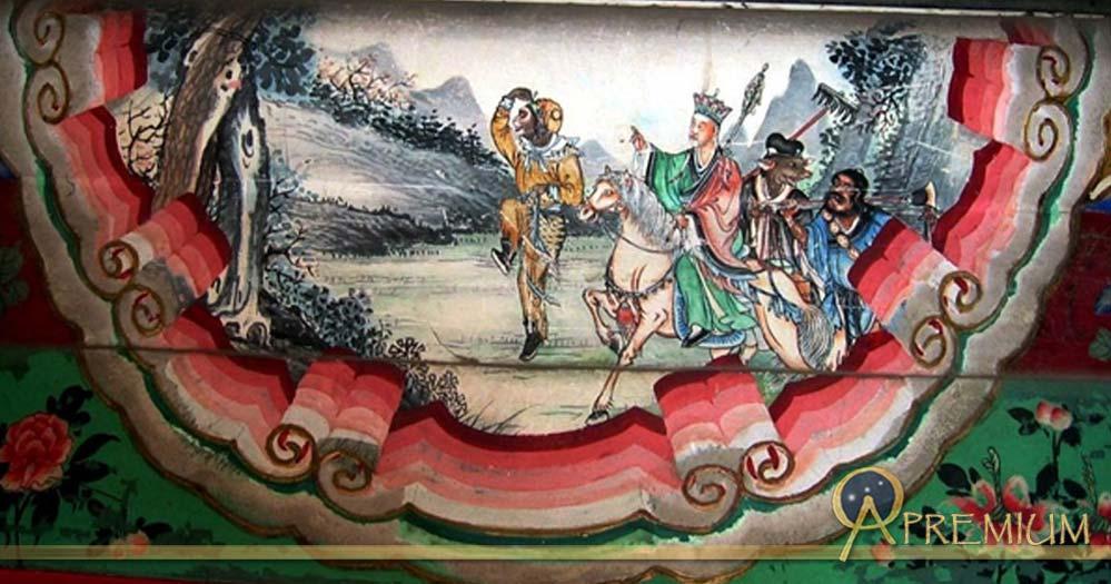 A painting depicting a scene from the Chinese classic, Journey to the West. The painting shows the four heros of the story, left to right: Sun Wukong, Xuanzang, Zhu Wuneng, and Sha Wujing.