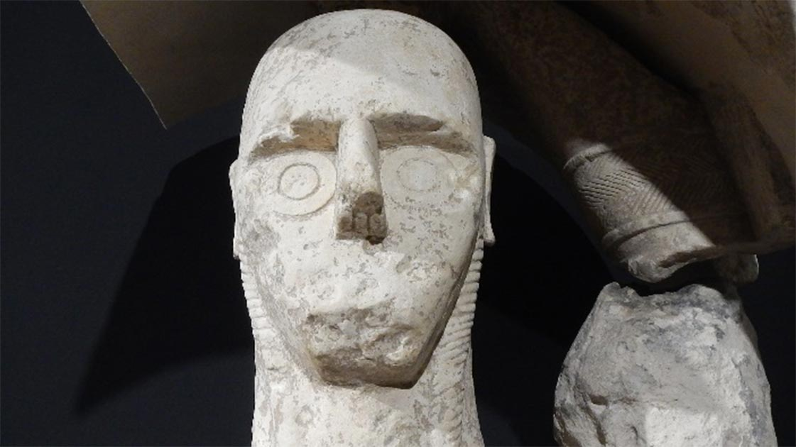 The bizarre face of one of the Mont'e Prama Giants. Source: Author provided