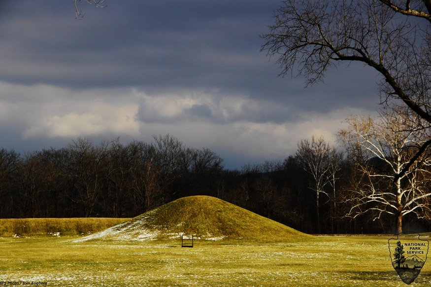 A Hopewell culture burial mound from the Mound City Group in Ohio.
