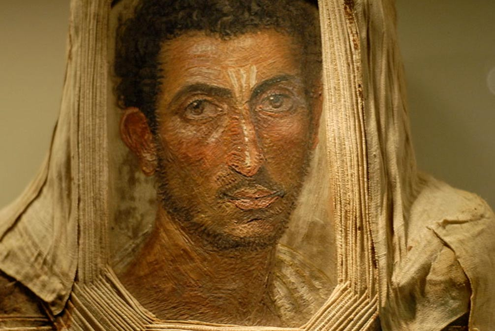 Mummy portrait of bearded man, encaustic on wood, Royal Museum of Scotland. Excavated in Hawara, Egypt in 1911.