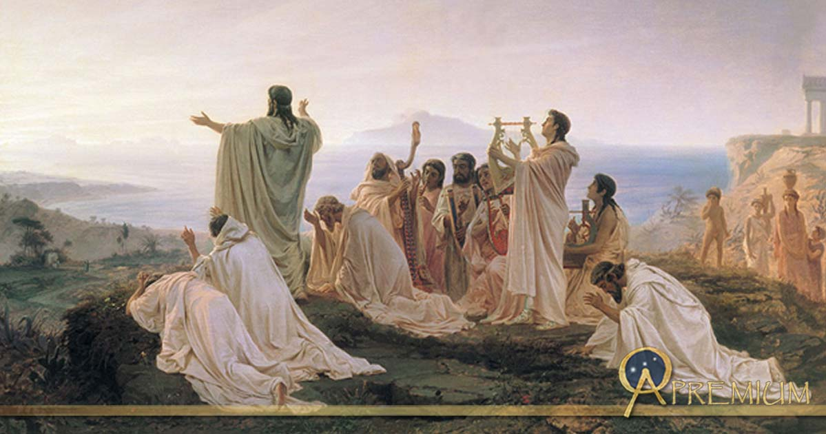 Pythagoreans Celebrate the Sunrise by Fyodor Bronnikov (1869)