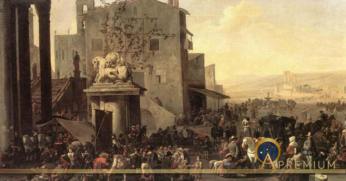 Roman Market Scene by Johannes Lingelbach (1653) (Public Domain)