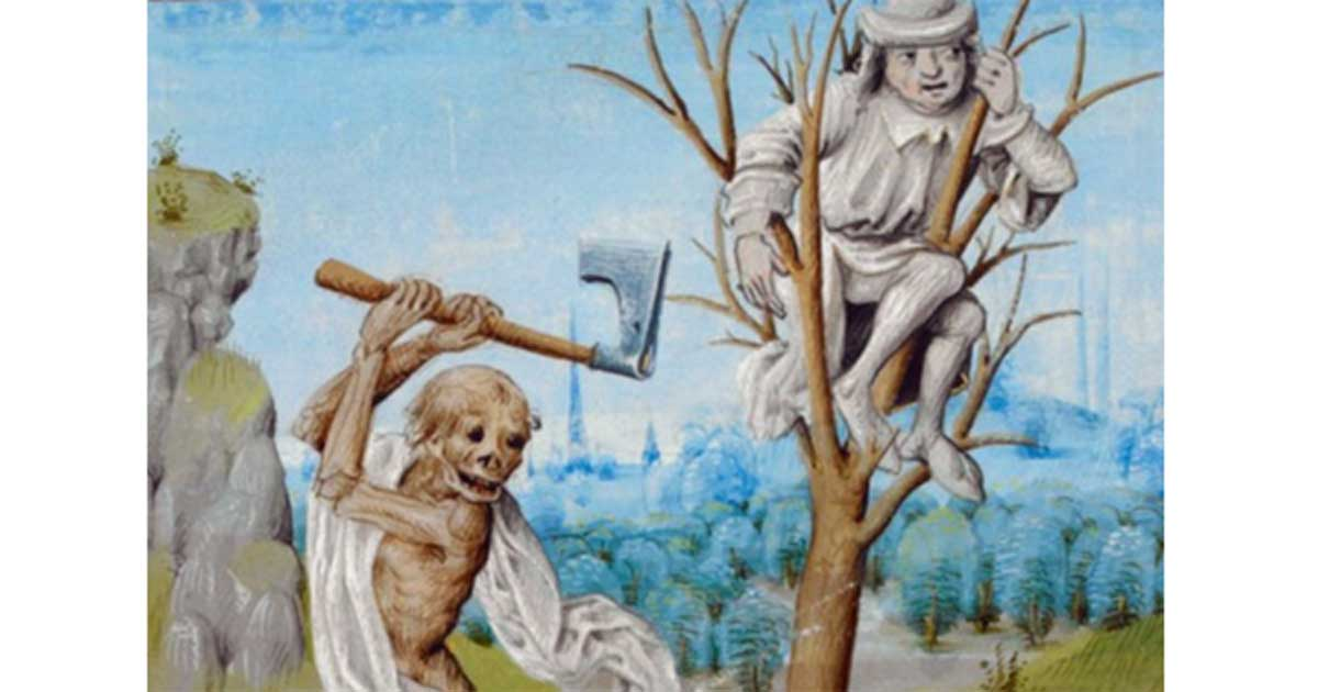 No escape…Detail of a miniature of 'Death Chopping Down a Tree' - British Library, Royal 15 D V f. 36. Jehan Froissart. Chroniques. Netherlands, last quarter of the 15th century.