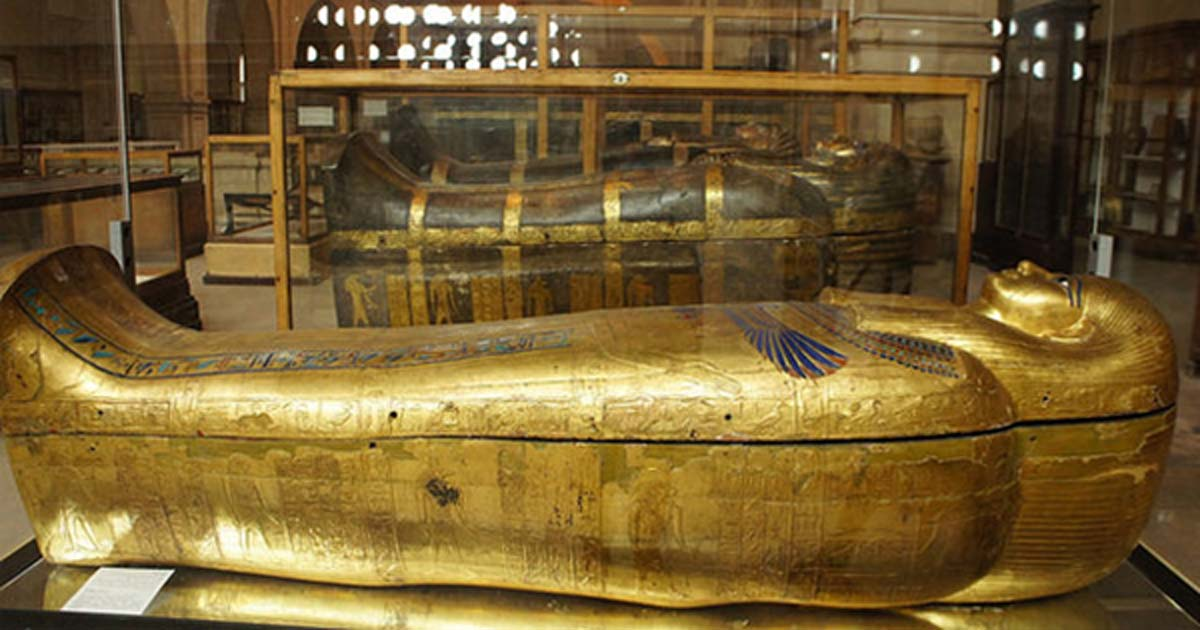 Golden sarcophagus from the ancient Egyptian Yuya and Tuya collection.
