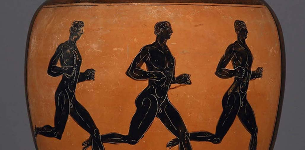 A Greek amphora showing athletes, 4th century BC. ©Trustees of the British Museum.
