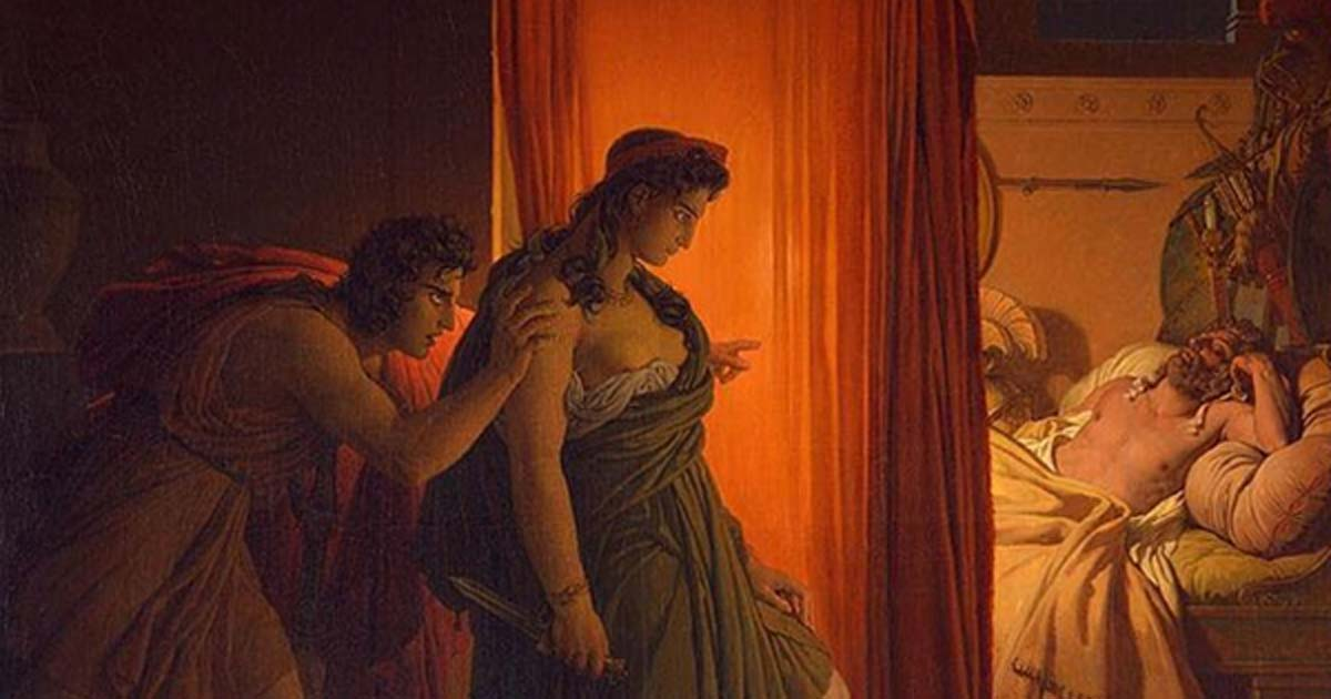 'Clytemnestra and Agamemnon' (circa 1822) by Pierre-Narcisse Guérin. Nauplius told Clytemnestra that Agamemnon had replaced her with another woman, inciting her to kill her (wrongly accused) husband!
