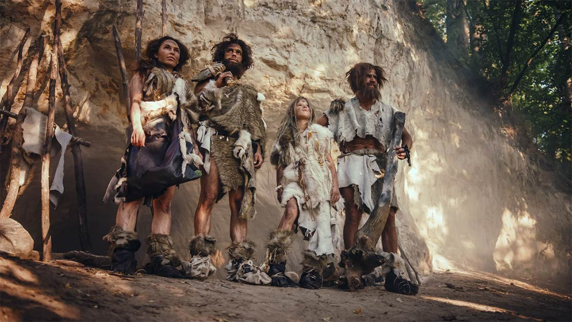 A group of Neanderthals, who, according to a new research paper, gave modern humans a Neanderthal gene that can make Covid-19 more servere.            Source: Gorodenkoff / Adobe Stock