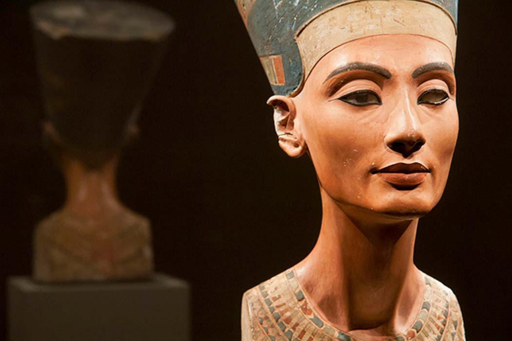 Bust of Nefertiti (ca. 1370 BC – ca. 1330 BC), the Great Royal Wife (chief consort) of the Egyptian Pharaoh Akhenaten.