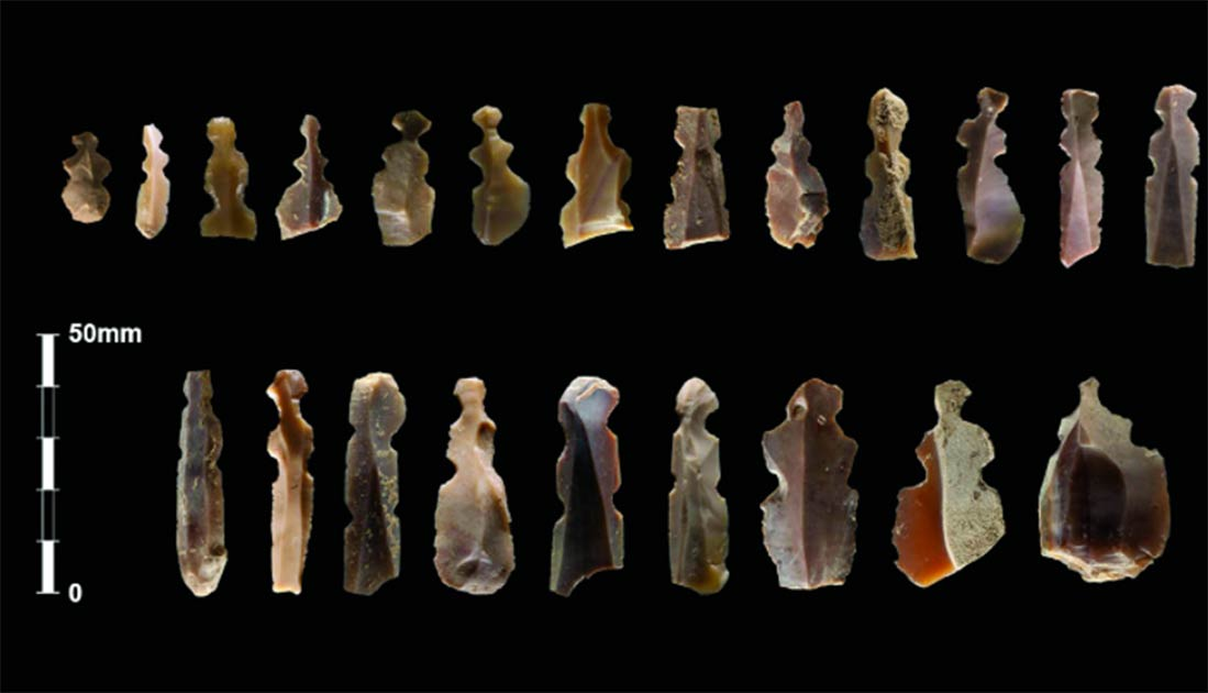 Bladelets and flakes with two pairs of notches interpreted as Neolithic figurines. Source: Kharaysin archaeological team / Antiquity Publications Ltd