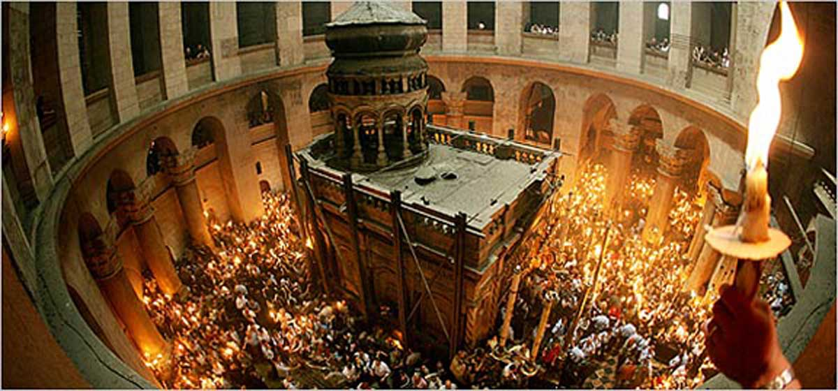 The tomb of Jesus Christ in the Church of the Holy Sepulchre, Jerusalem.