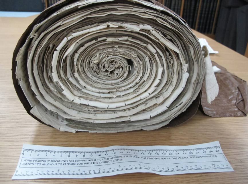 Rolled up parchment with information of payment to William Weston from Henry VII