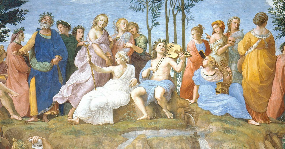 Apollo and the Nine Muses. Source: Erzalibillas / Public Domain.