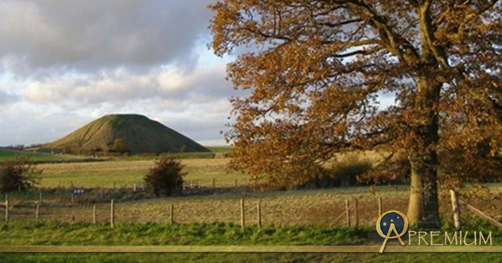 Silbury Hill on the left, is the largest prehistoric mound in Europe.
