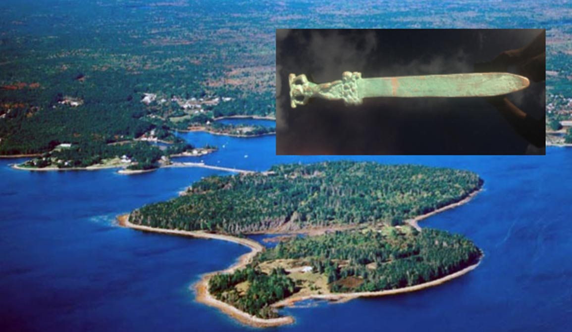 Main: Featured image: Oak Island, Nova Scotia, Inset: The Roman sword found in water just off the mysterious Oak Island, Nova Scotia.