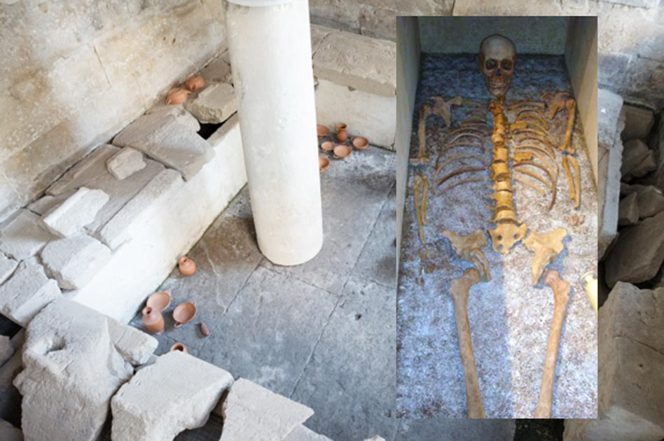A tomb of athletes at Taranto. Inset: The skeleton of the ancient athlete found at Taranto