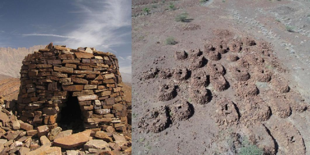 Left: Example of a tomb at Al Ayn. (Public Domain) Right: The recently unearthed Iron Age site in Oman.  (The National)