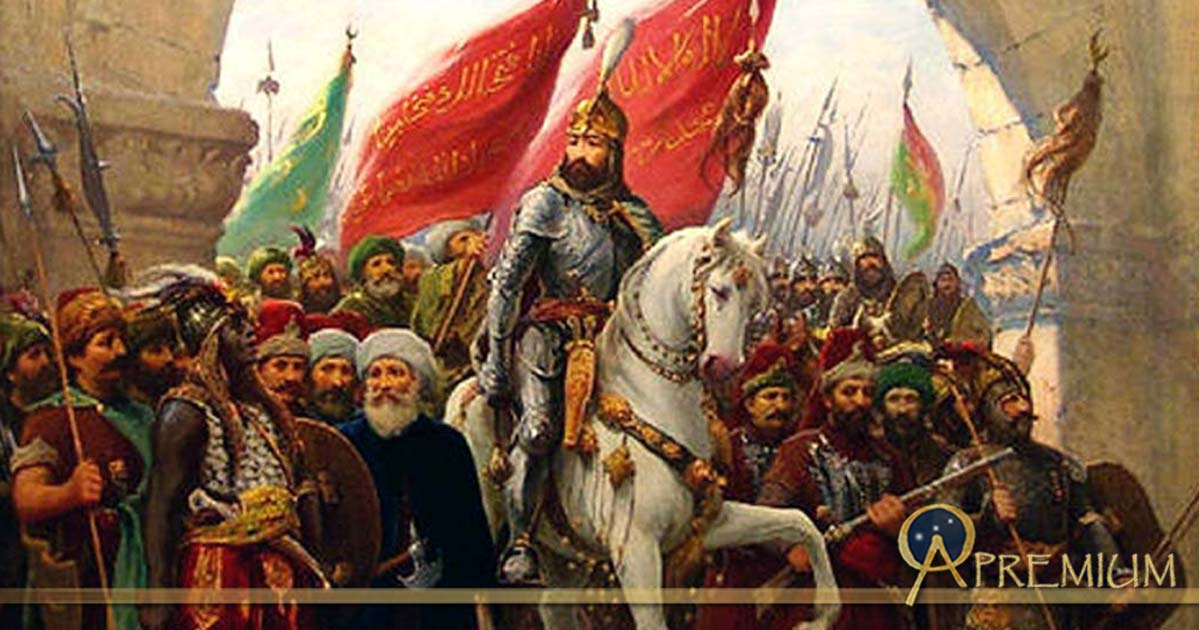 Detail; The entry of Sultan Mehmed II into Constantinople, painting by Fausto Zonaro (1854-1929)