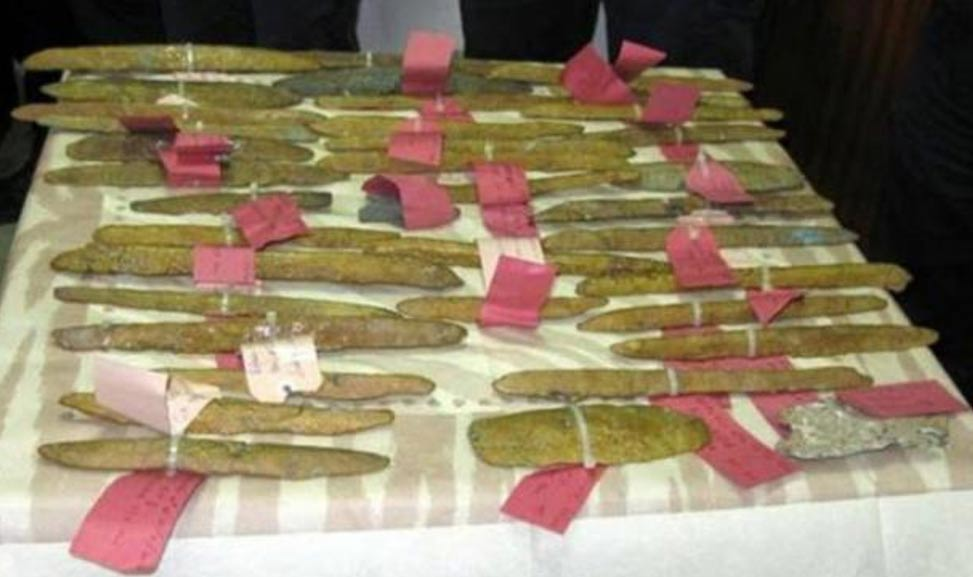 Orichalcum ingots found off the coast of Gela in Sicily.