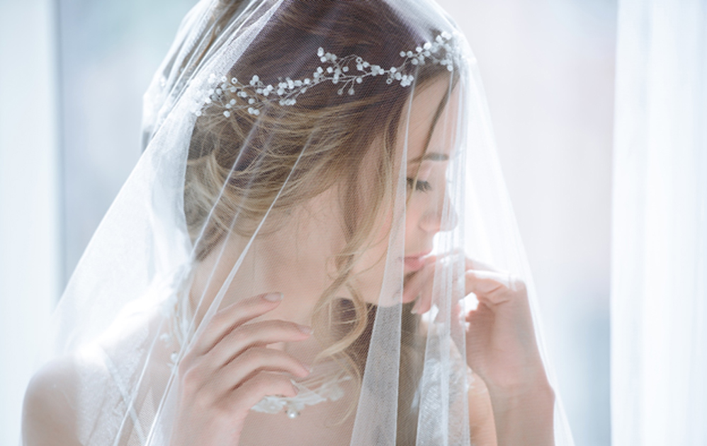 Closeup wedding accessory - bridal veil.