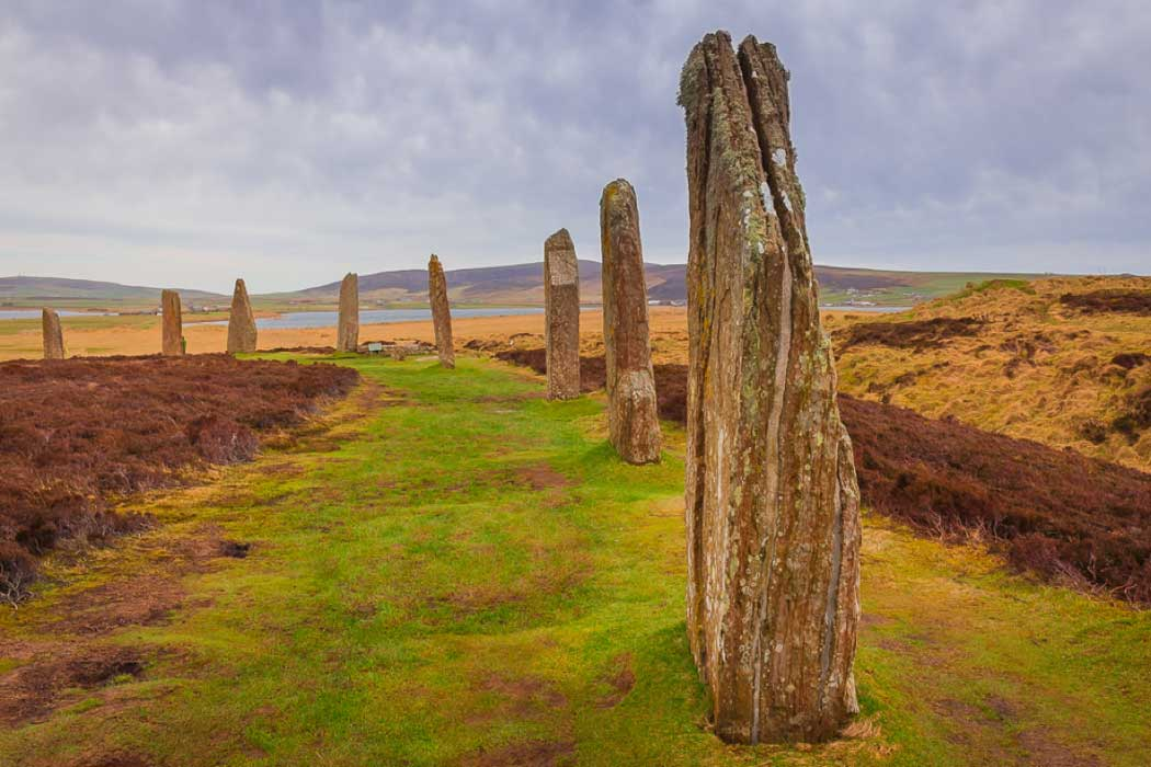 Ring of Brodgar, Orkney Islands. A Neolithic henge and stone circle.