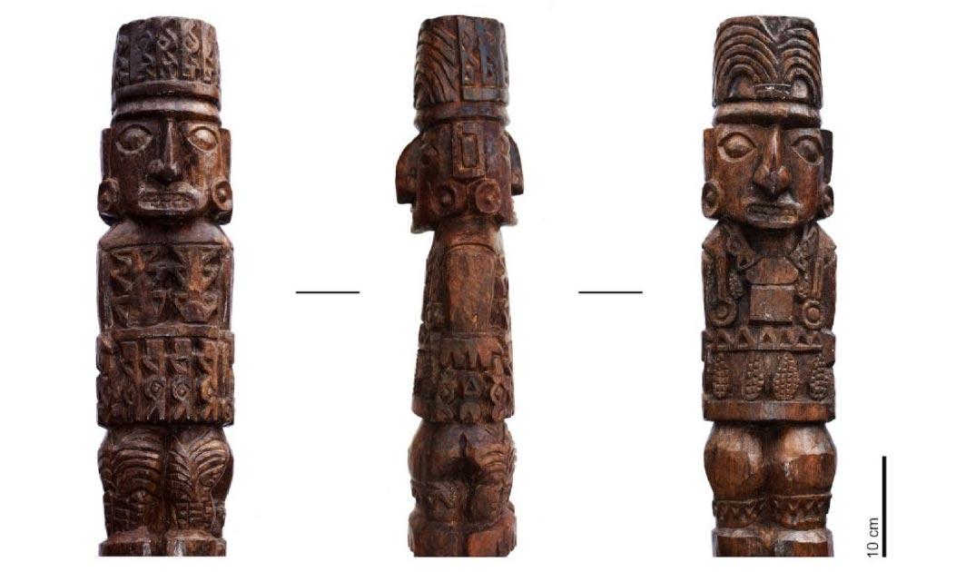 The wooden statue of the Pachacamac idol.  Source: (Sepúlveda M, Pozzi-Escot D, Angeles Falcón R, Bermeo N, Lebon M, Moulhérat C, et al. (2020)/ PlosOne)/ Museo de sitio Pachacamac