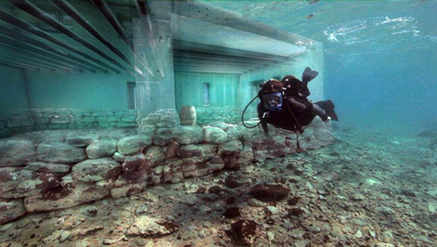 Pavlopetri ruins and reconstruction