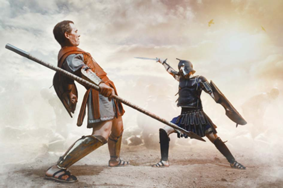 Ancient Greek warrior fighting in the combat. Credit: Fotokvadrat / Adobe Stock